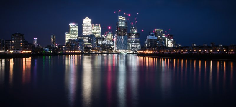 Image of Canary Wharf in London at night